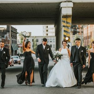 September Wedding at Barrister Winery by Ifong Chen Photography - downtown bridal party